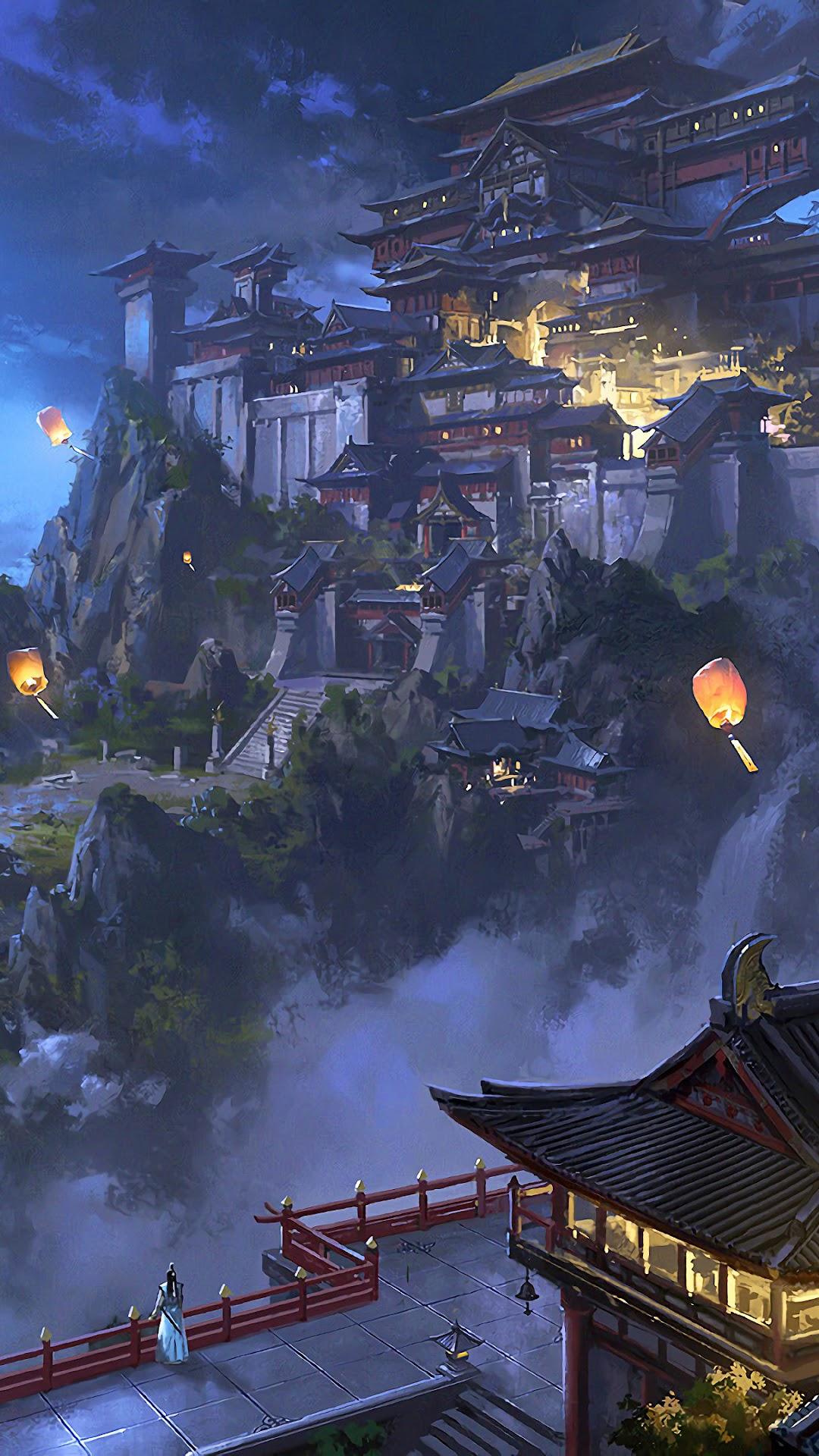 Anime Sky Lantern Mountain Japanese Castle Night Scenery 4k
