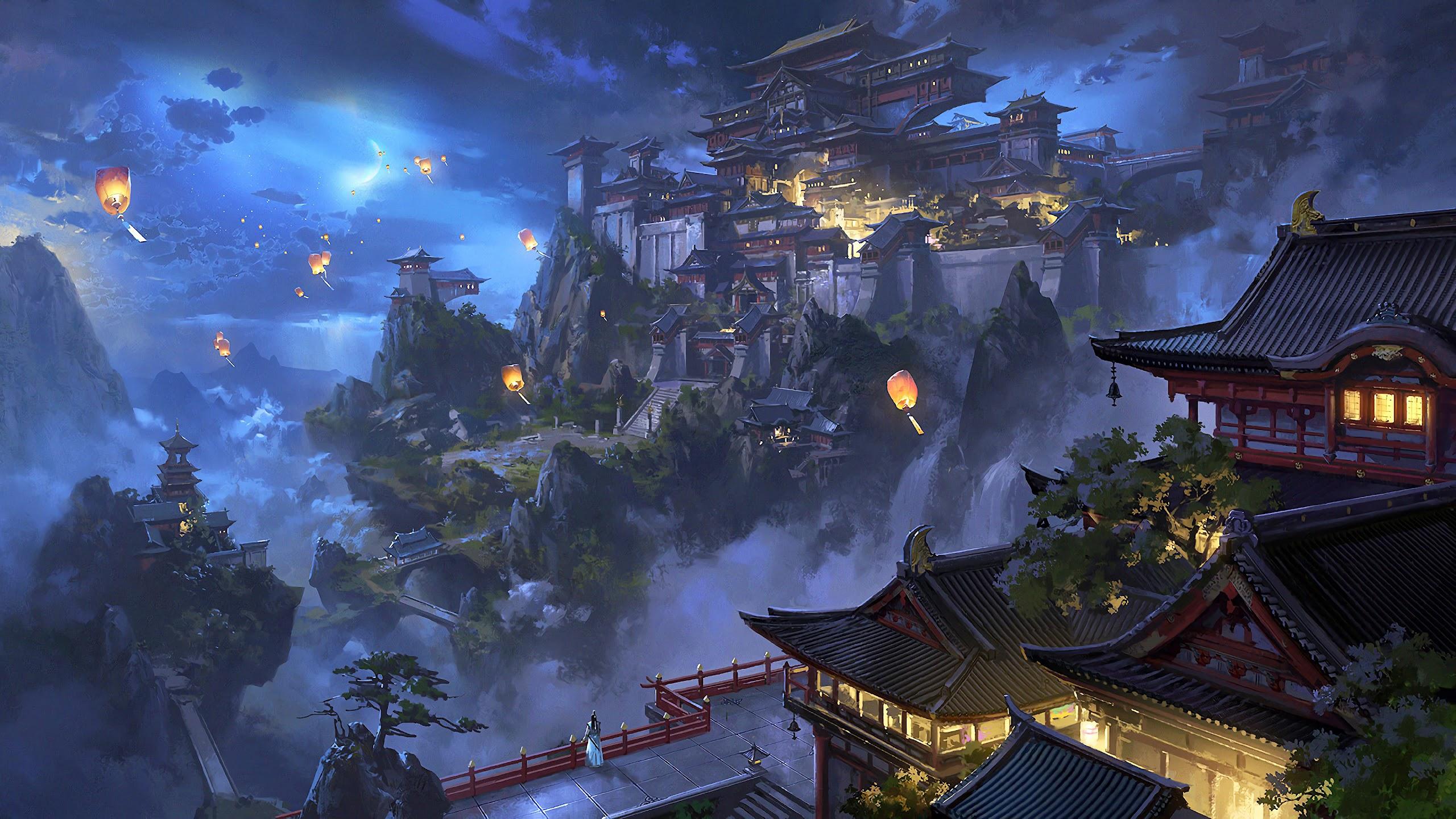 Anime Sky Lantern Mountain Japanese Castle Night Scenery 4k Wallpaper 106