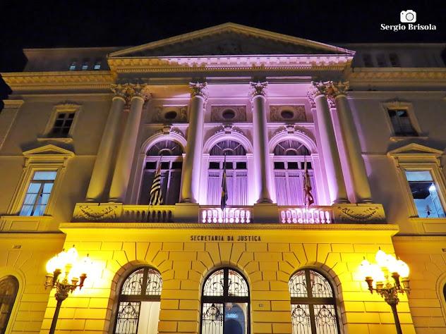 Perspectiva inferior da fachada da Secretaria da Justiça e da Defesa da Cidadania - Palácio Manoel Pedro Pimentel (1891) - Centro - São Paulo