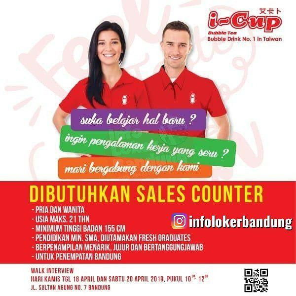 Lowongan Kerja Sales Counter I-Cup Bubble Drink ( Walk In Interview ) 18 & 20 April 2019