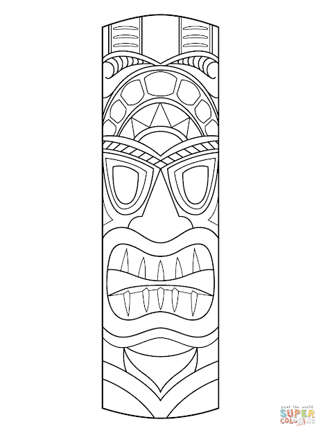 Click The Tiki Mask Coloring Pages