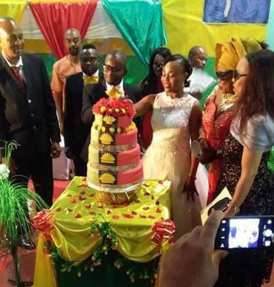 IPOB couple wed with Biafran-themed cake