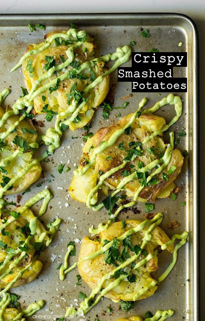 Yummy Crispy Smashed Potatoes with Avocado Garlic Aioli Recipe
