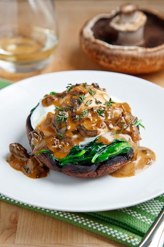 Roasted Portobello Mushroom with Poached Egg in a Creamy Mushroom Sauce
