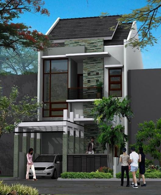 fasad rumah mungil 2 lantai