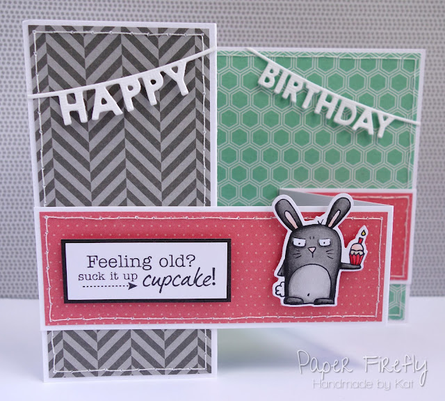 Double z fold card with Party Grumplings (from Taylored Expressions)