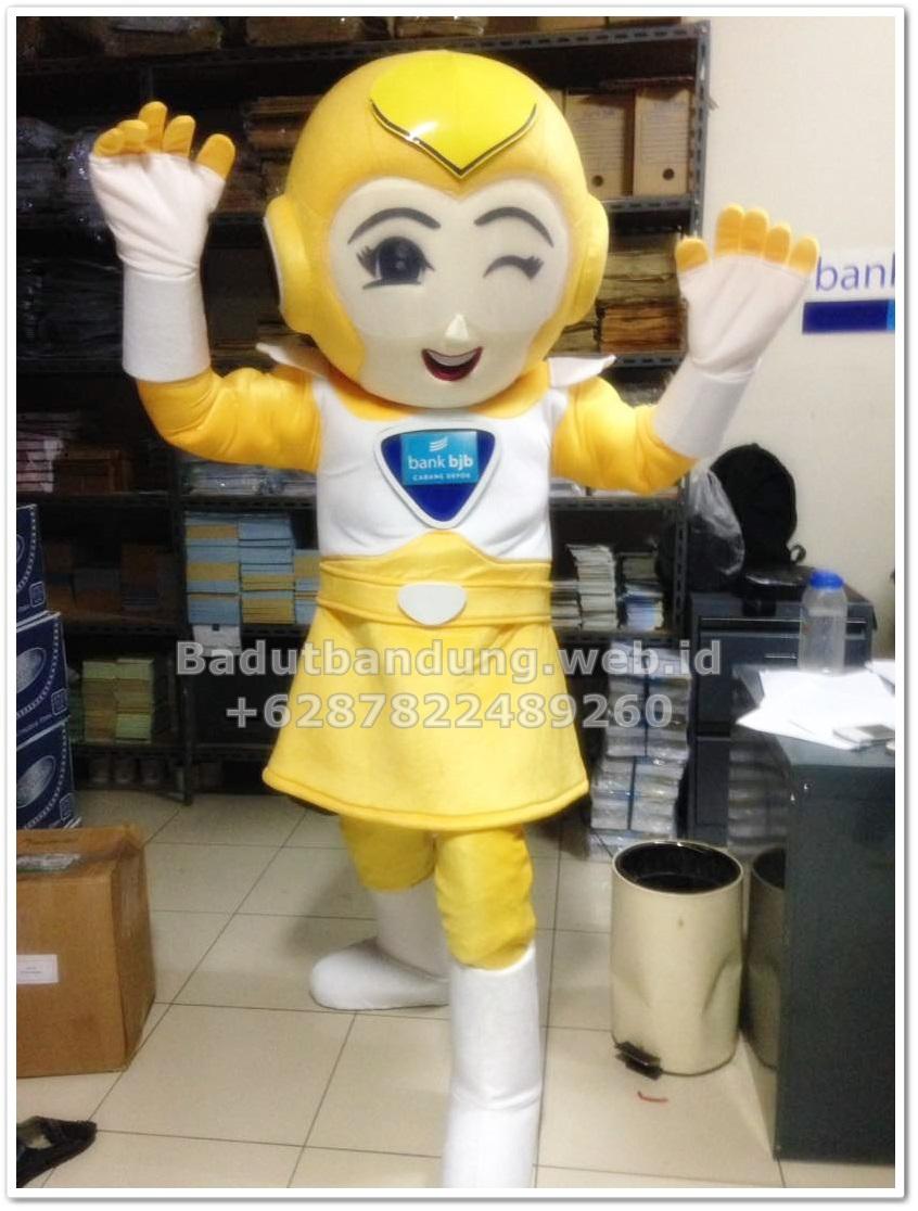 contoh kostum maskot bank bjb robot kuning wanita genit