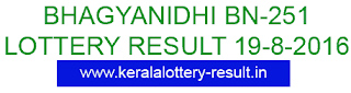 Kerala Lottery result 19/8/2016, Bhagyanidhi BN 251, Bhagyanidhi BN251 lottery result, Bhagyanidhi lottery result BN-251, August 19,2016 lottery result