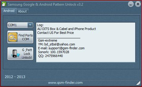 Samsung Pattern Unlocker for any samsung mobile  Free download Samsung Pattern Unlocker V3.2.rar