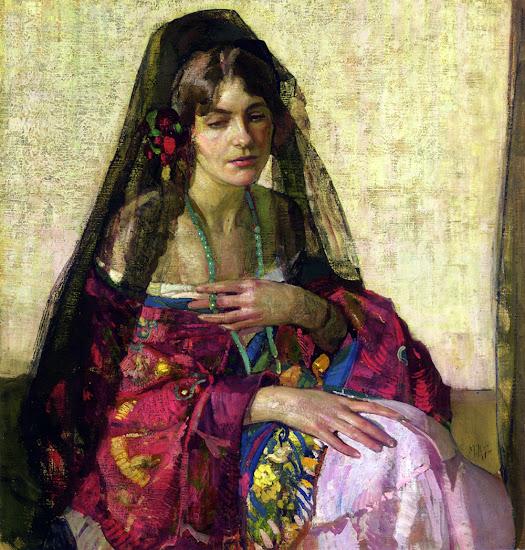 Richard Edward Miller,  International Art Gallery, Black Mantilla, Portraits Of Painters, Fine arts, Self-Portraits