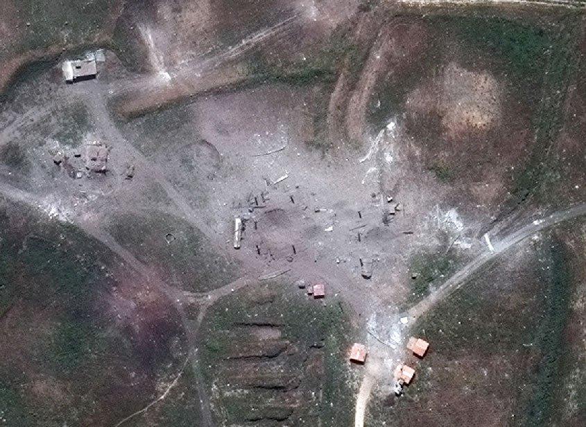 Химический комплекс Химса Синшар после ракетного удара