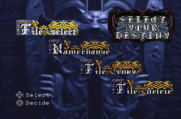 Castlevania Symphony of the Night select your destiny file select screen