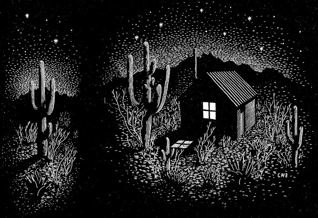 a 1936 C.W. Bacon illustration of a shack in the desert at night