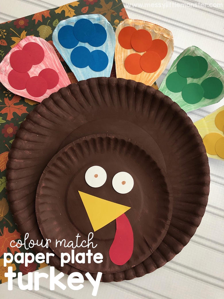 Colour match paper plate turkey craft for toddlers and preschoolers. Thanksgiving crafts for kids. Paper plate craft.