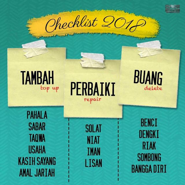 checklist 2018, tambah, perbetulkan, buang, sifat manusia, hasad dengki, iri hati,