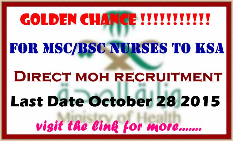 Golden Chance for MSc/BSc Nurses to KSA - Direct MOH Interview