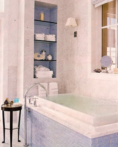 blue bath tub tile surround