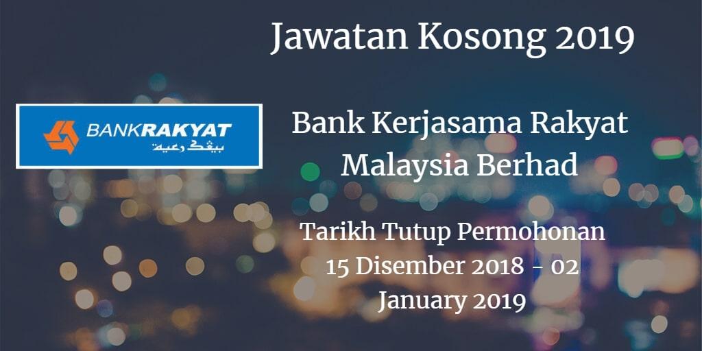 Jawatan Kosong Bank Kerjasama Rakyat Malaysia Berhad 15 Disember 2018 - 02 January 2019