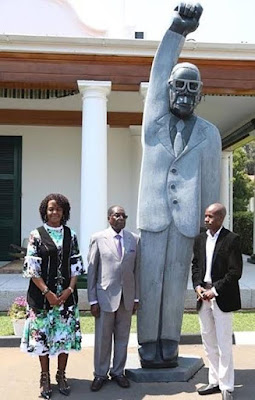 President Mugabe unveils giant statue of himself, unimpressed Zimbabweans mocks it on Twitter