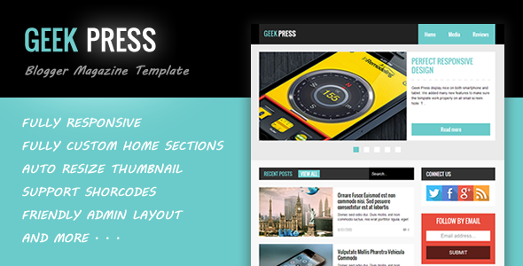 Geek Press - Responsive News & Magazine Blogger Template