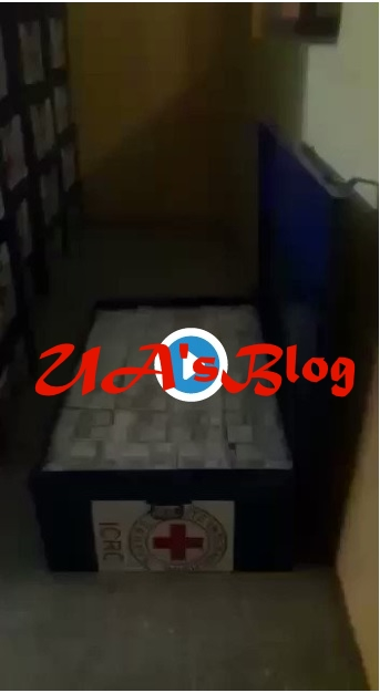 BREAKING: Watch Shocking Video of Stolen Dollars Stockpile In Dozens of Red Cross Boxes Allegedly Discovered In A PDP Chieftain 2 Cold Rooms