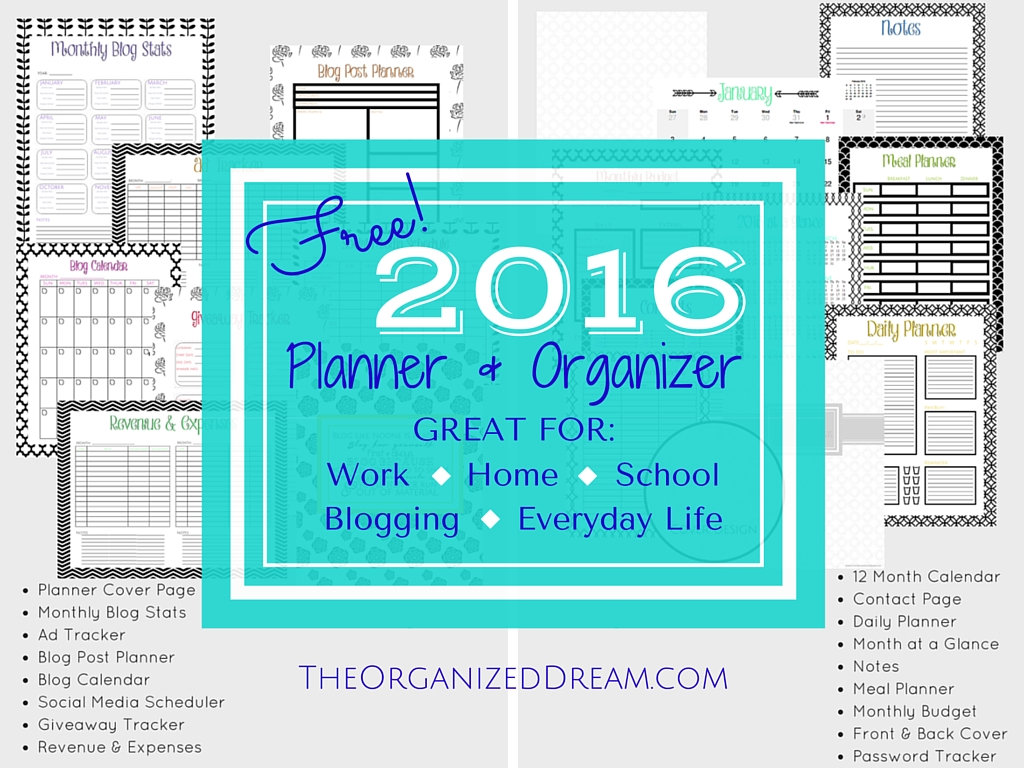 free 2016 calendar planner organizer 35 pages the organized
