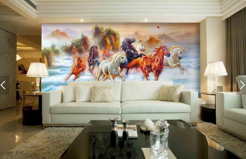 Tranh dán tường 3d mã đáo thành công sơn dầu