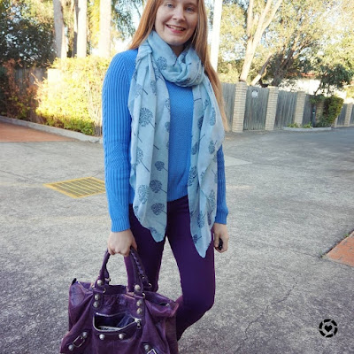 awayfromblue instagram blue and purple outfit skinny jeans balenciaga work bag