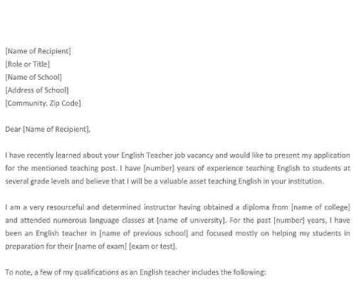 English Teacher Job Application Letter
