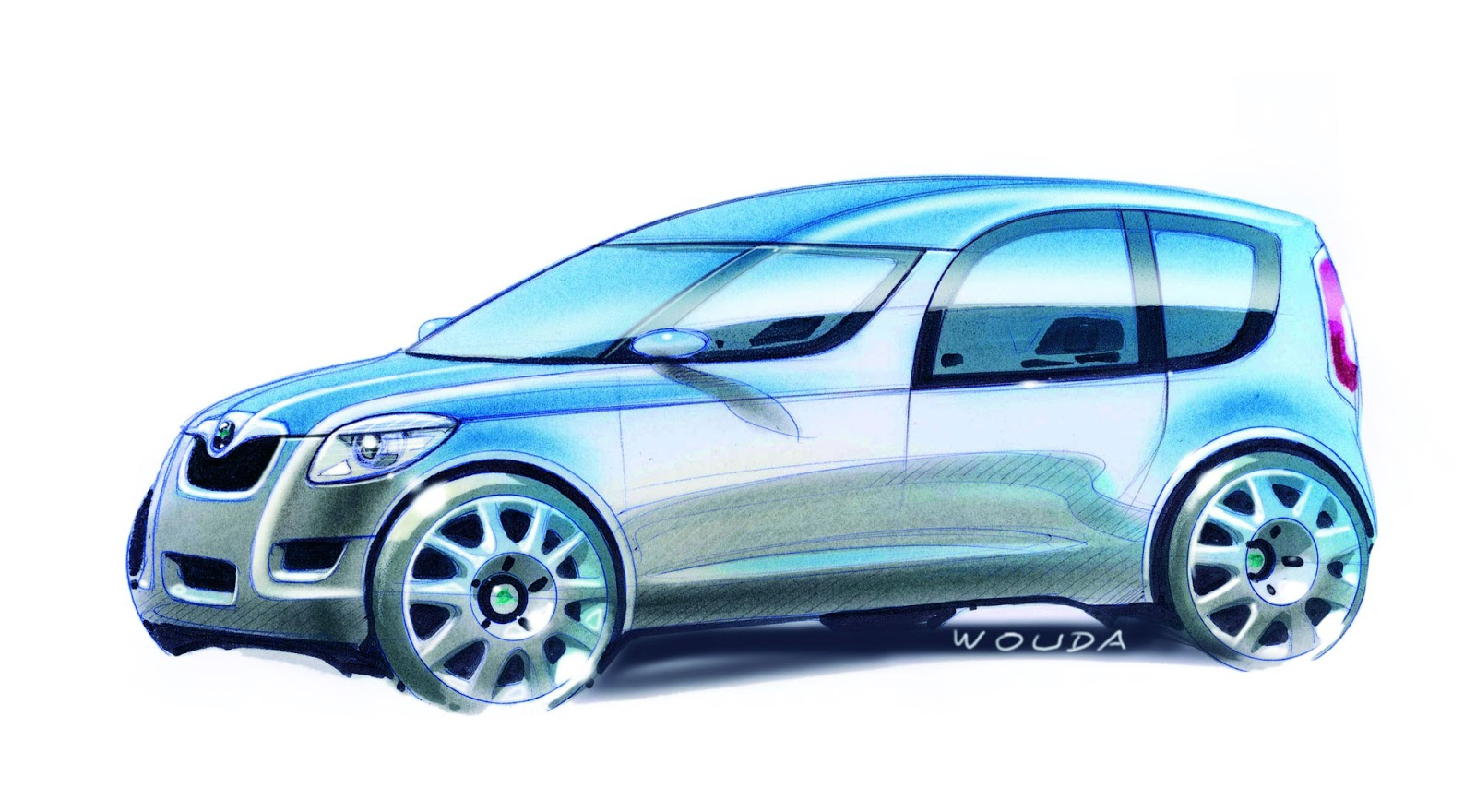 Skoda Roomster sketch by Peter Wouda - final theme, side view