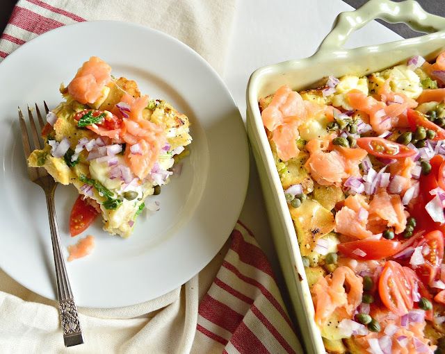 This overnight bagel bread pudding is perfect for brunch. Topped with lox and all the extras, this everything bagel breakfast is a winner. #overnightbreakfastcasserole #everythingbagel #breakfast www.thisishowicook.com