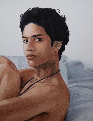 garçon nu, fauteuil, aquarelle, crayon, Caran d'Ache, Winsor et Newton, jeune homme nu