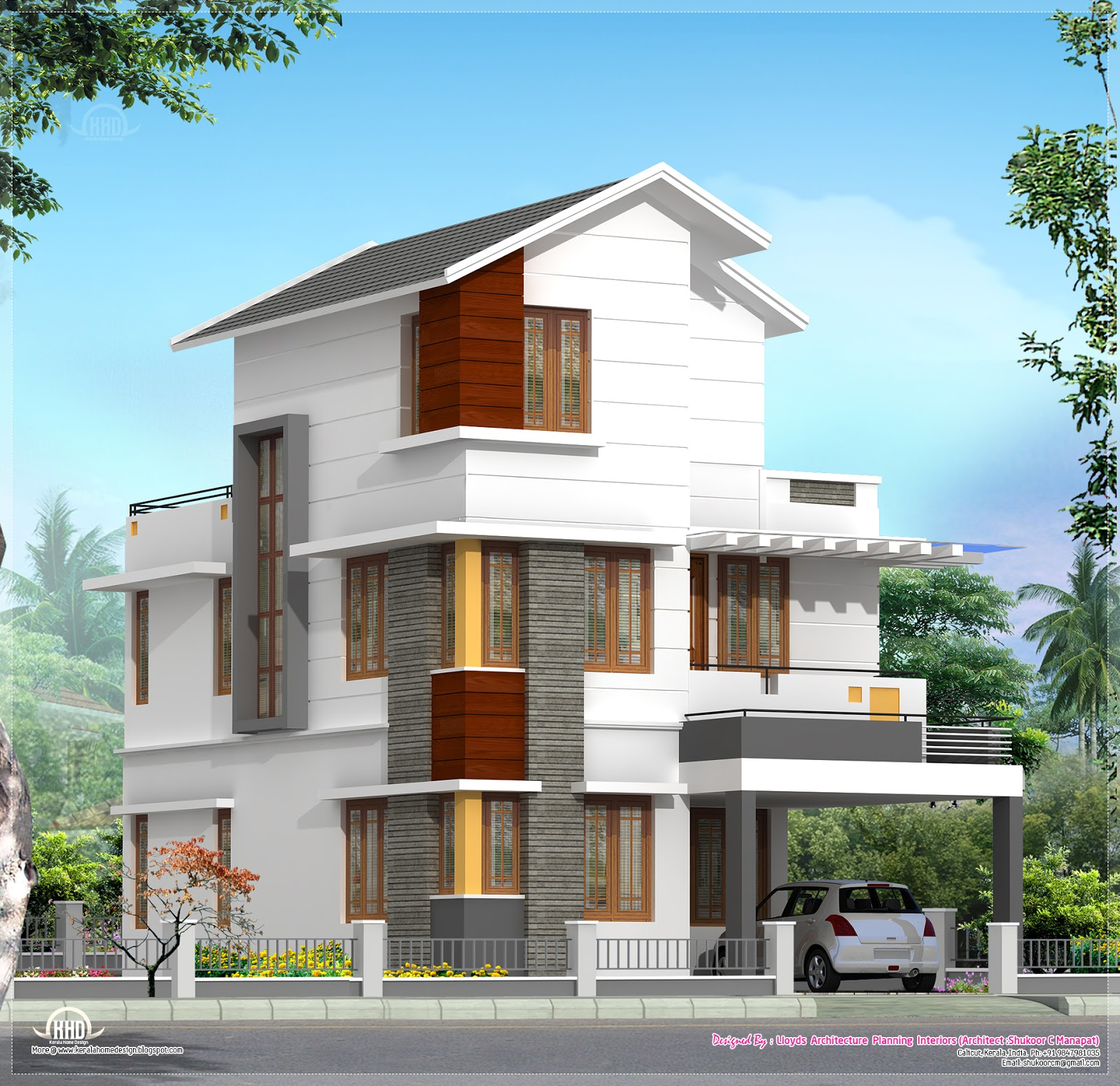 Three Floor House 4 Bedroom House Plan In Less That 3 Cents Home Kerala Plans