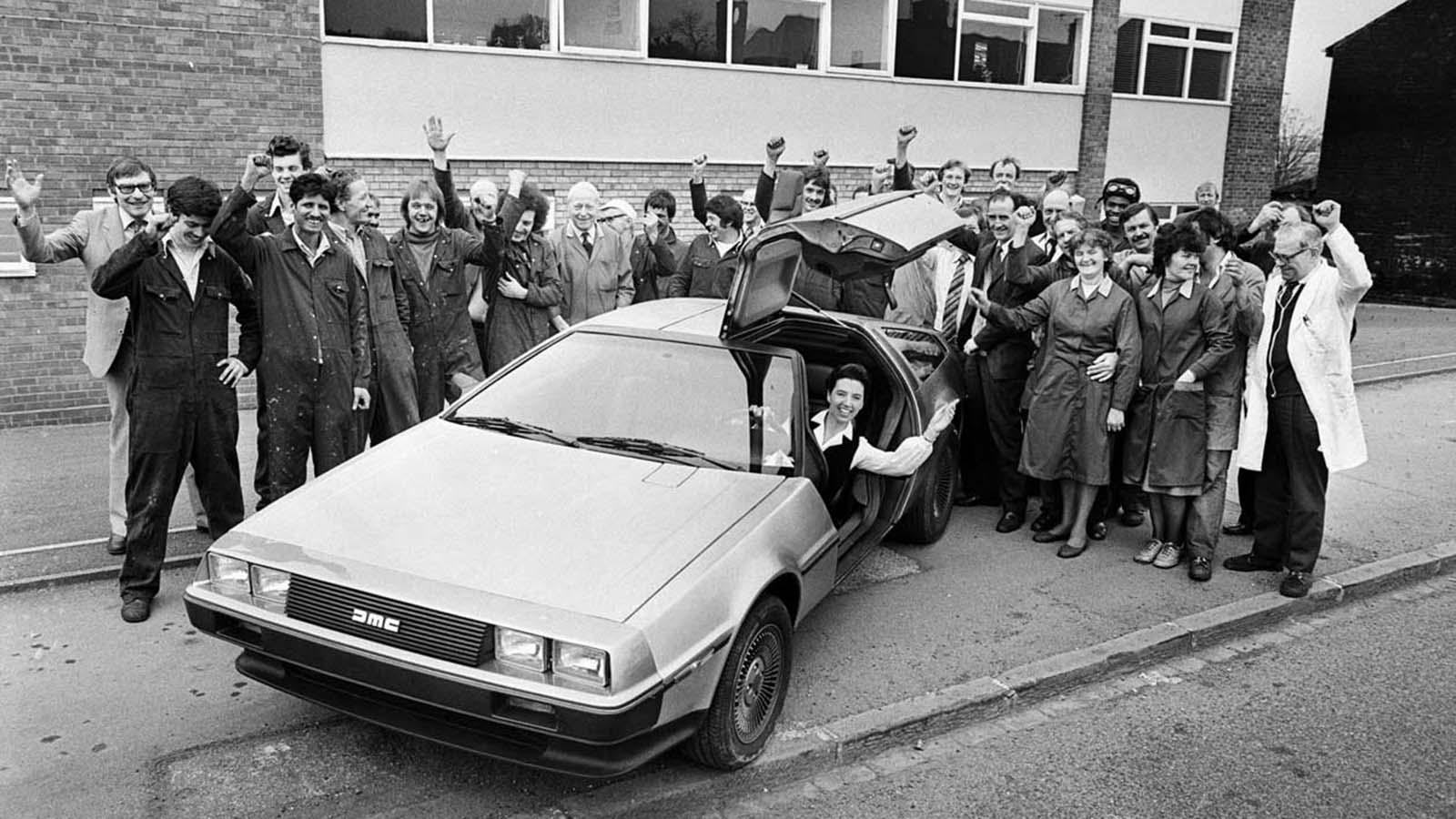 A DeLorean outside a company office. 1981.