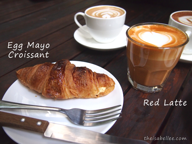 Egg Mayo Croissant and Red Latte from Three Little Birds Coffee