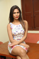 Nishi Ganda stunning cute in Flower Print short dress at Tick Tack Movie Press Meet March 2017 225.JPG