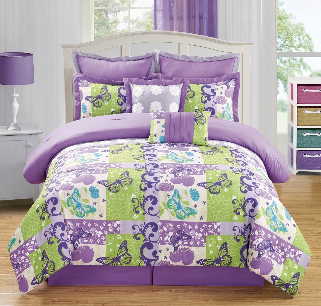 Girlsu0027 Butterfly Theme Purple And Lime Green Comforter Set