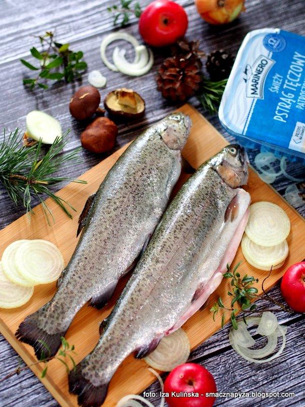pstrag marinero, nasz pstrag, swieze ryby, ryba pieczona, pstrag z piekarnika, pstrag z grzybami, rybka na obiad