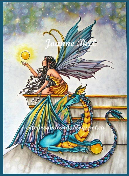 colouring of fairy,dragon with orb on colours n cards