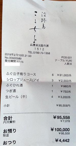 こゝちよ(ここちよ)2019/2/10飲食レシート