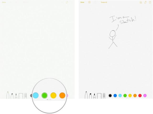 كيفية اضافة رسومات إلى تطبيق الملاحظات Notes في iOS 11