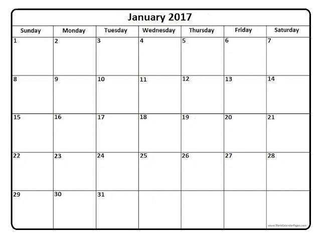 January 2017 Printable Calendar, January 2017 Calendar, January 2017 Calendar Template, January 2017 Calendar Printable, Free January 2017 Calendar, Blank January 2017 Calendar
