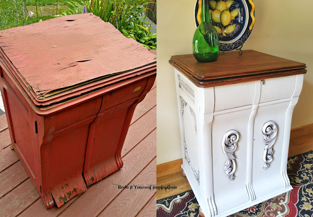 Gorgeous antique record cabinet makeover