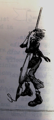 Hand drawn figure wielding large pen, used on FAW ACT newsletter
