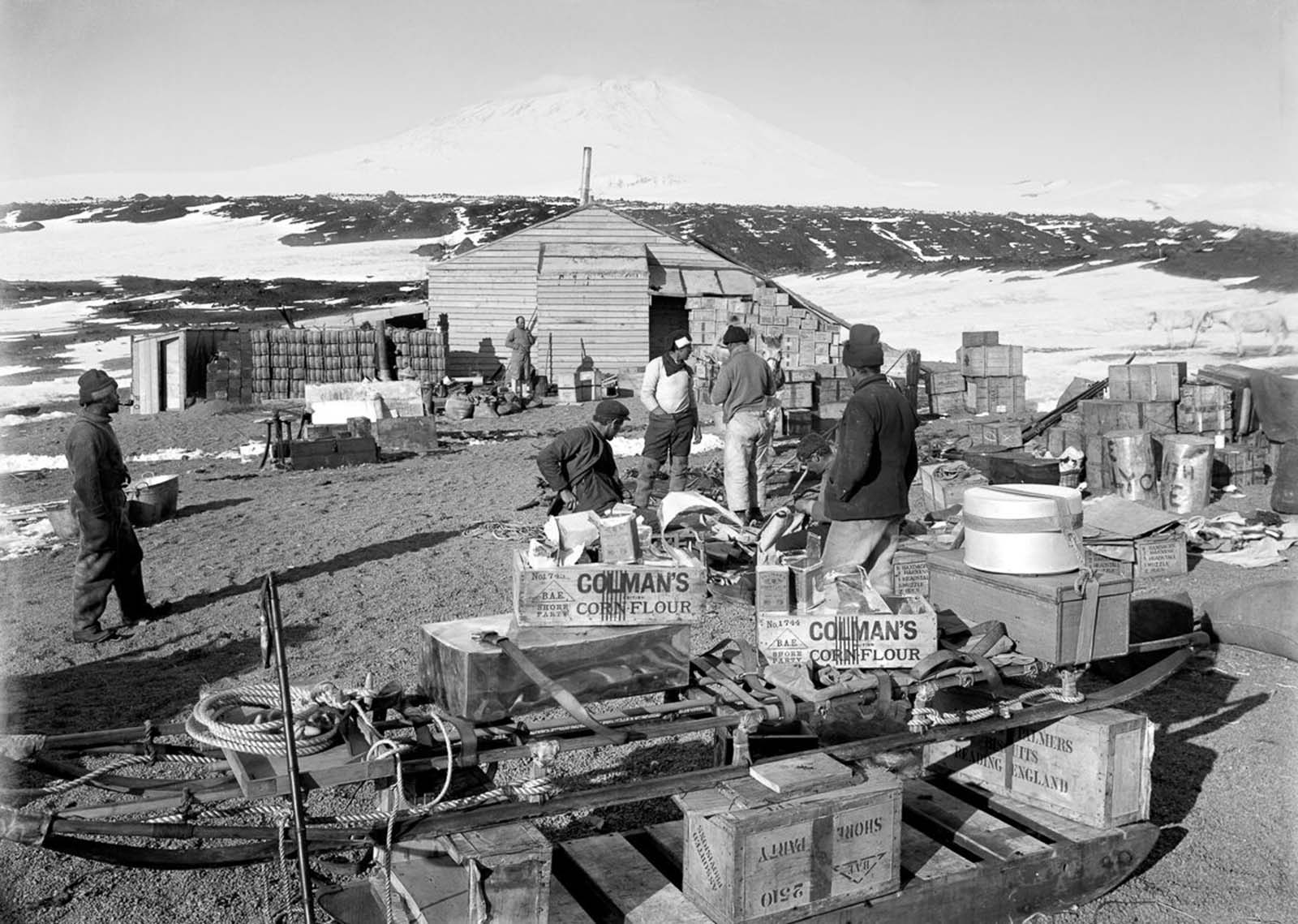 Men arrange supplies at the camp on Cape Evans, with active volcano Mt. Erebus in the background. Jan. 23, 1911.