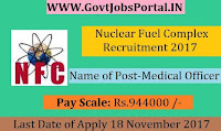 Nuclear Fuel Complex Recruitment 2017– Medical Officer