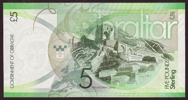Gibraltar money currency 5 Pounds banknote 2011 Moorish Castle