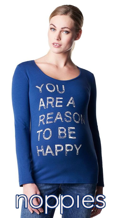 T-shirt de grossesse en coton imprimé bleu NOPPIES