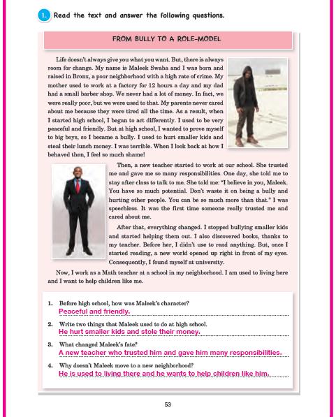 11. Sınıf Cem Veb Ofset Yayınları İngilizce Sunshine Çalışma Kitabı 53. Sayfa Cevapları Theme 10 Habits: Now And Then