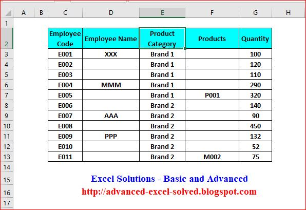 Fill Blank Cells With Value Above or Below the Cell or Zero Excel